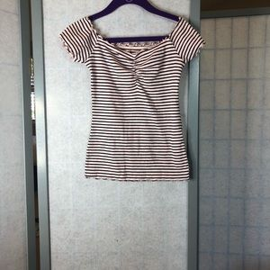 Hollister baby pink with black stripes top